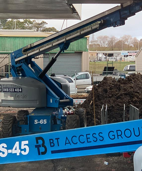 A boom life under a roof with the BT Access Group branding on it