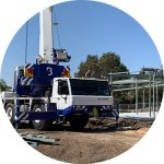 An ATF-40 Tonne All Terrain Tadano Crane with it's support legs currently extended